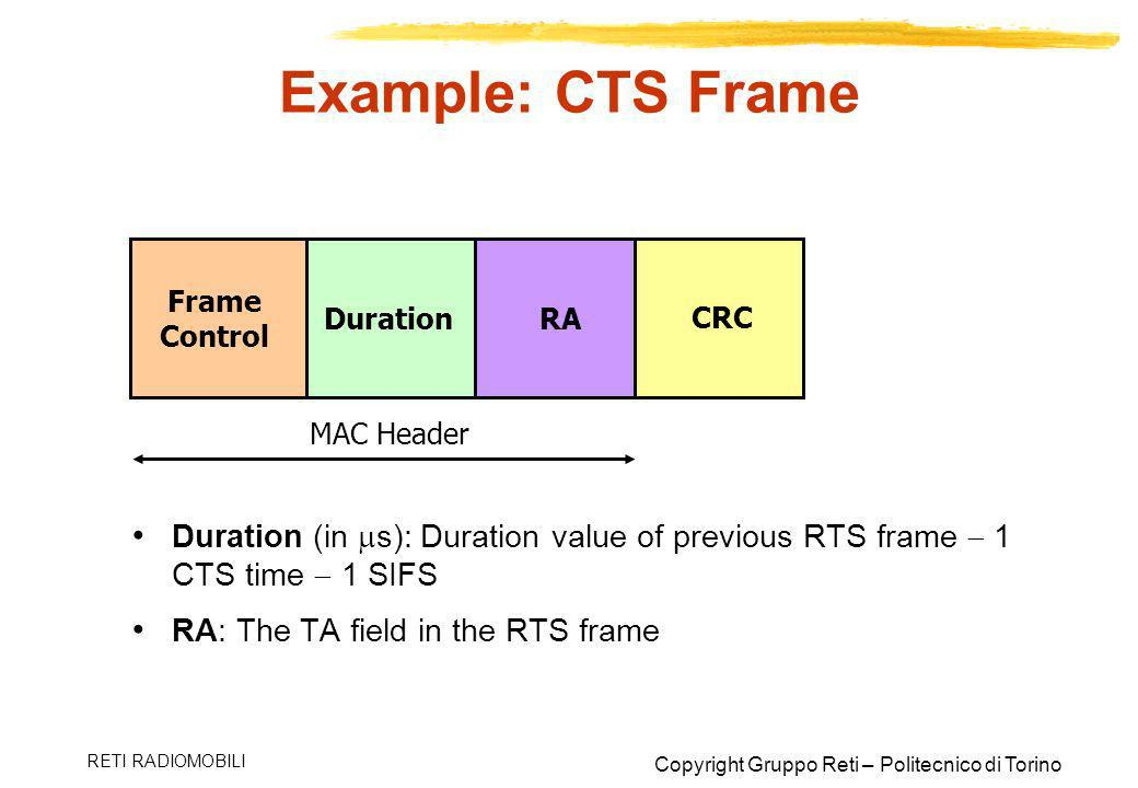 Example: CTS Frame Frame Control. Duration. RA. CRC. MAC Header. Duration (in s): Duration value of previous RTS frame  1 CTS time  1 SIFS.
