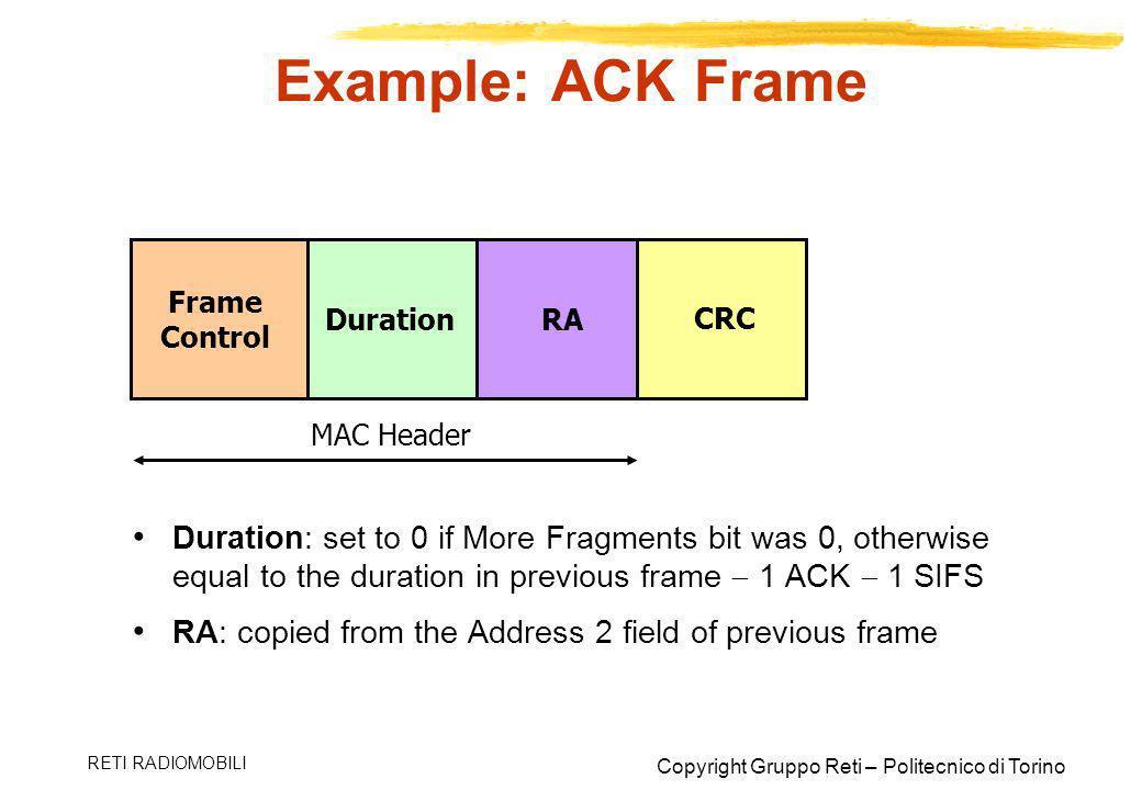 Example: ACK Frame Frame Control. Duration. RA. CRC. MAC Header.