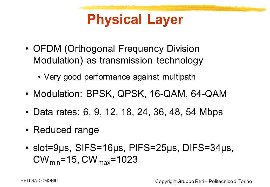 Physical Layer OFDM (Orthogonal Frequency Division Modulation) as transmission technology. Very good performance against multipath.