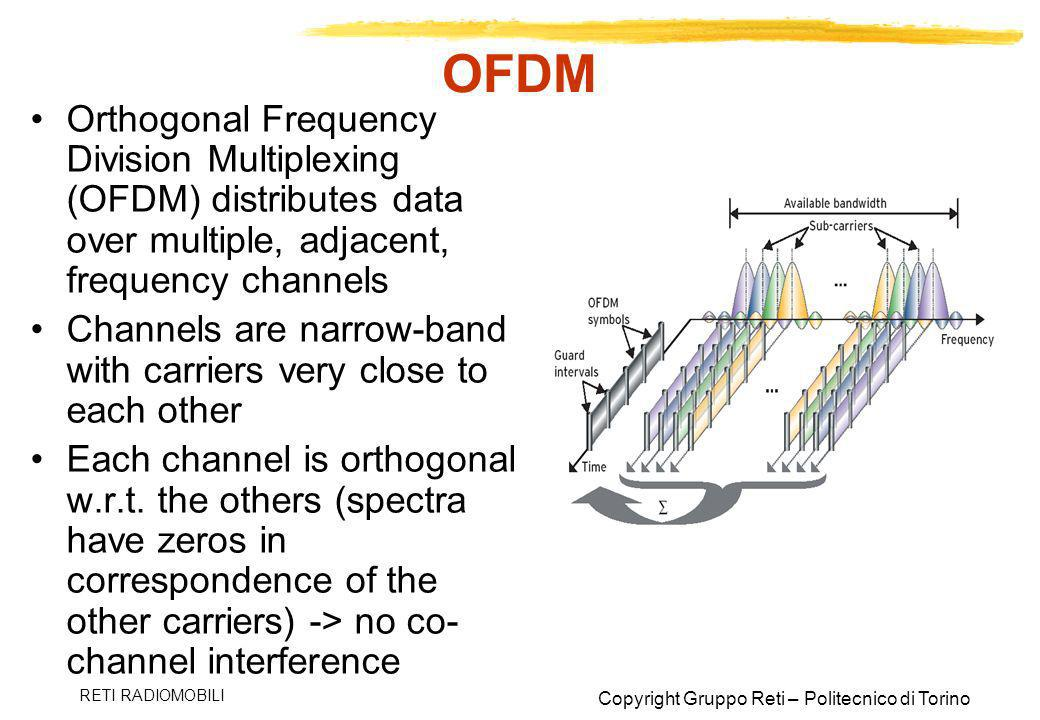 OFDM Orthogonal Frequency Division Multiplexing (OFDM) distributes data over multiple, adjacent, frequency channels.