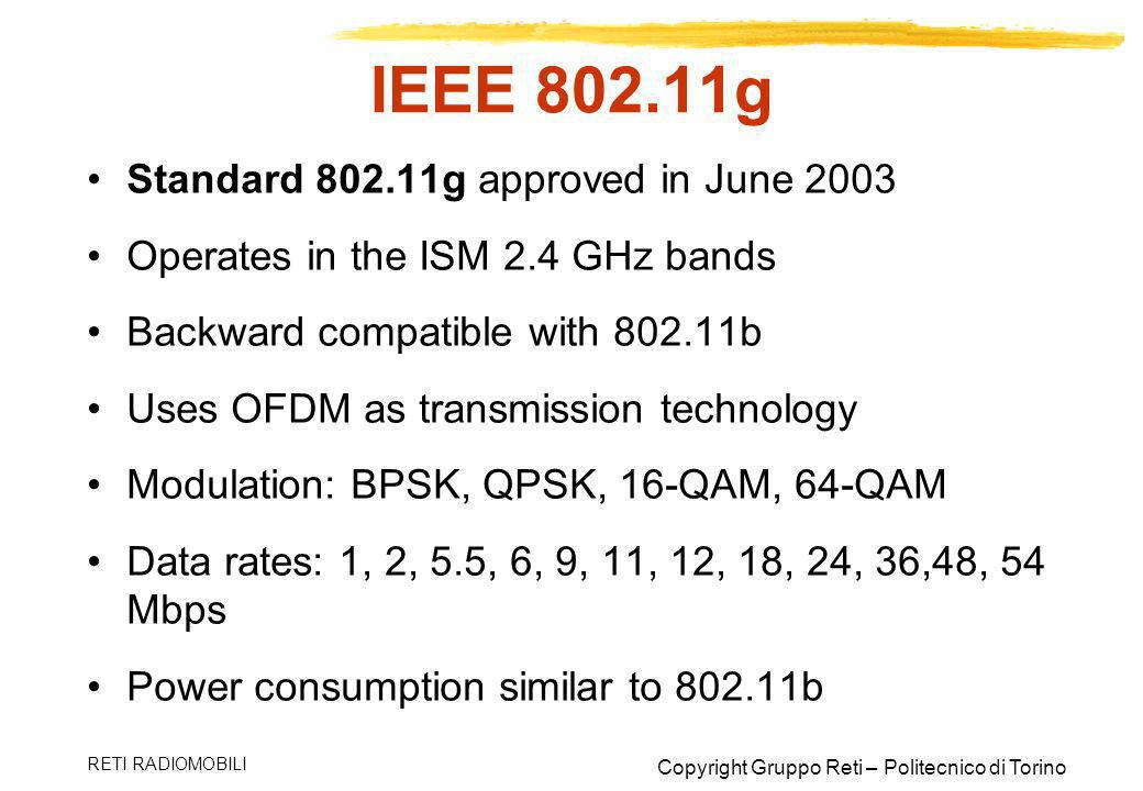 IEEE 802.11g Standard 802.11g approved in June 2003