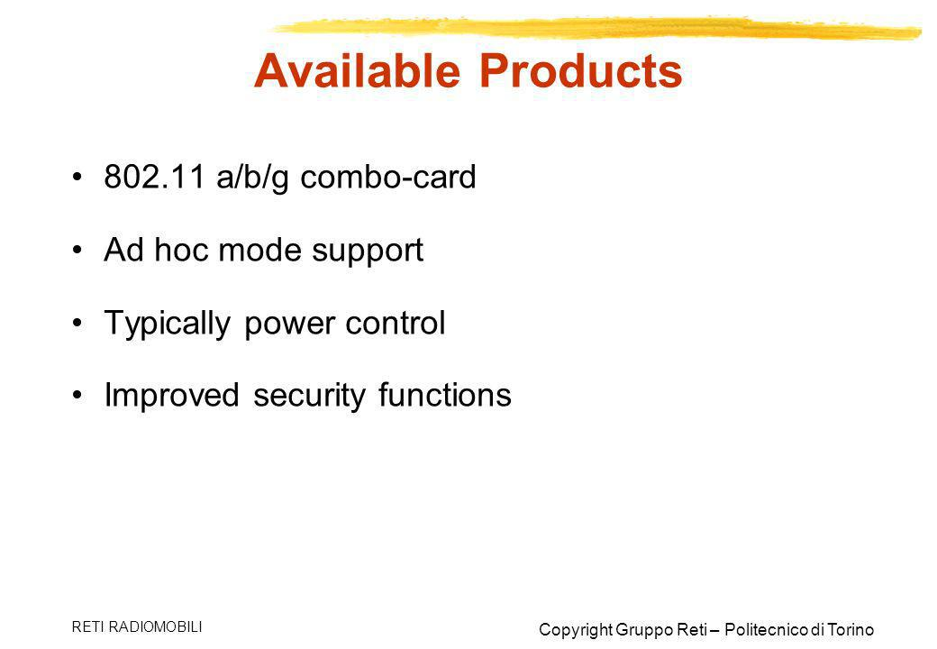 Available Products 802.11 a/b/g combo-card Ad hoc mode support