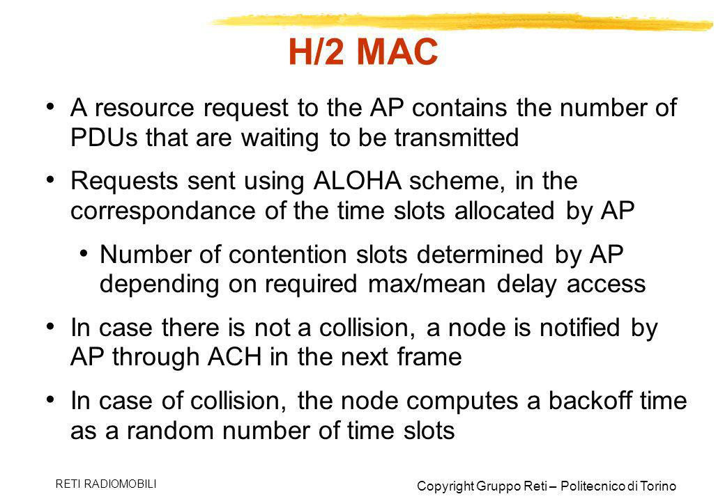 H/2 MAC A resource request to the AP contains the number of PDUs that are waiting to be transmitted.