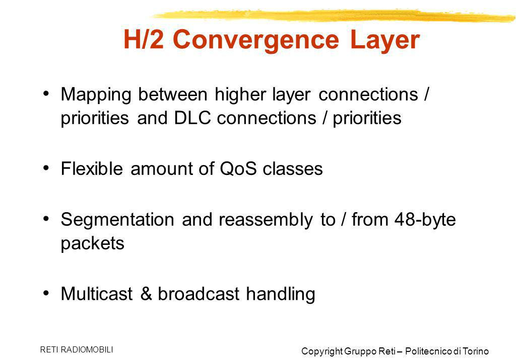 H/2 Convergence Layer Mapping between higher layer connections / priorities and DLC connections / priorities.