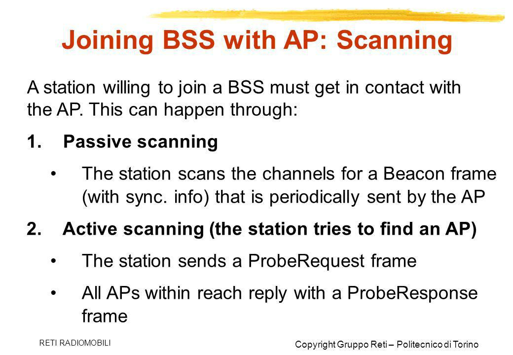 Joining BSS with AP: Scanning
