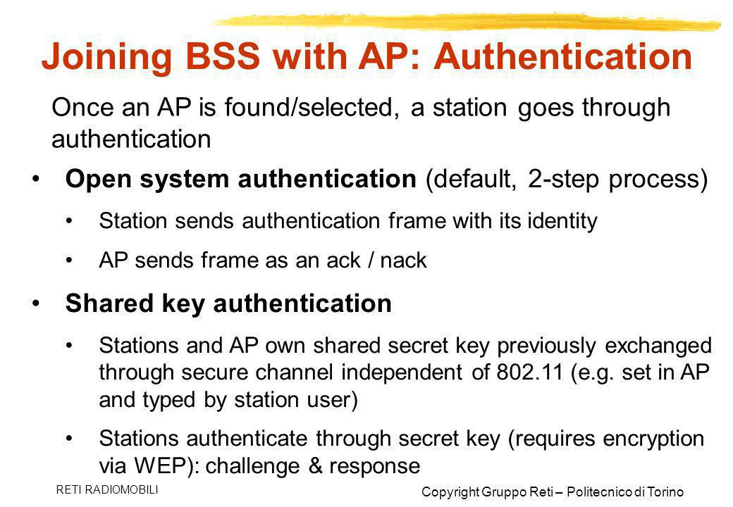 Joining BSS with AP: Authentication