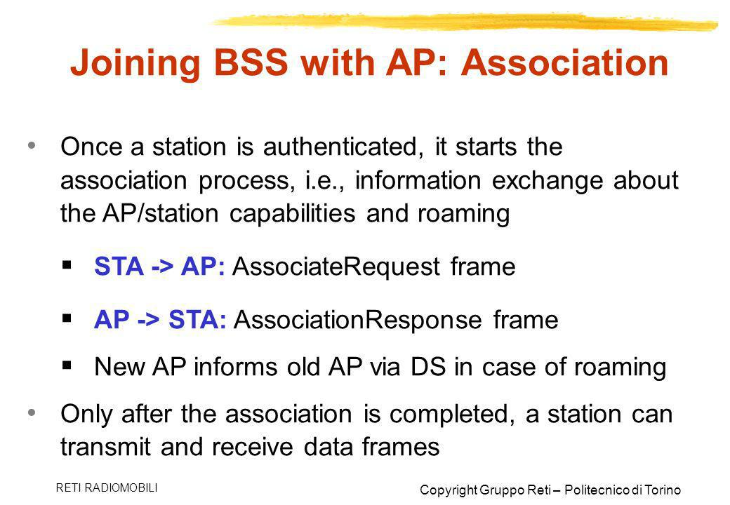 Joining BSS with AP: Association