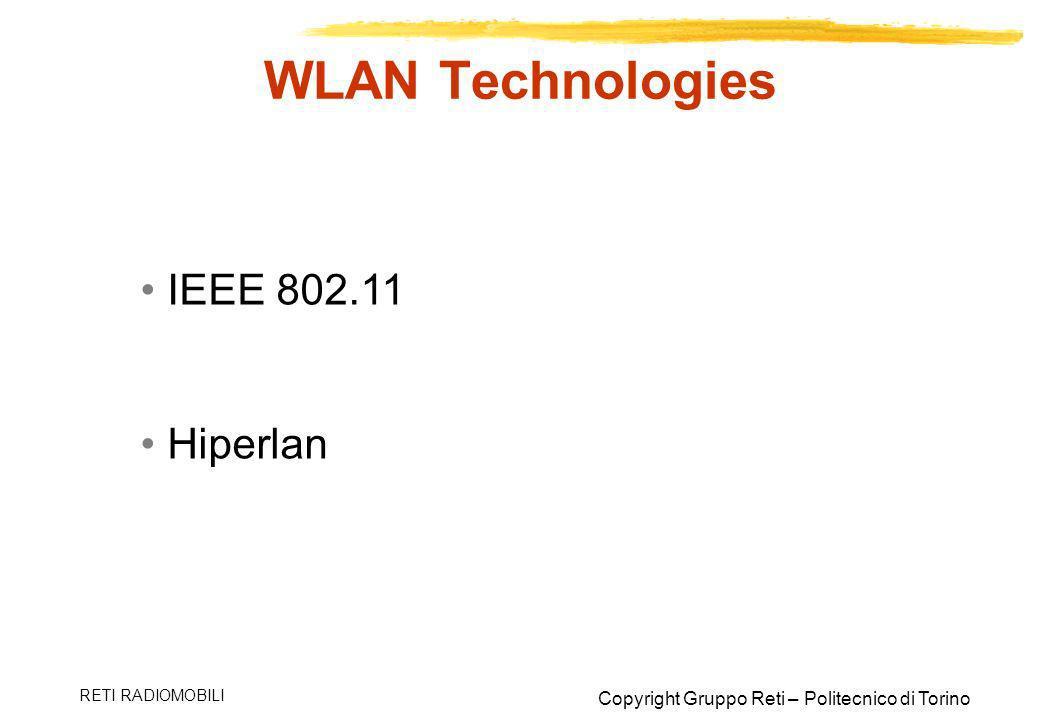 WLAN Technologies IEEE 802.11 Hiperlan RETI RADIOMOBILI