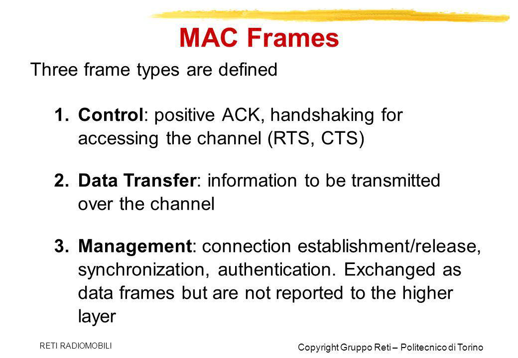 MAC Frames Three frame types are defined