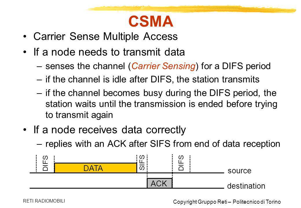 CSMA Carrier Sense Multiple Access If a node needs to transmit data