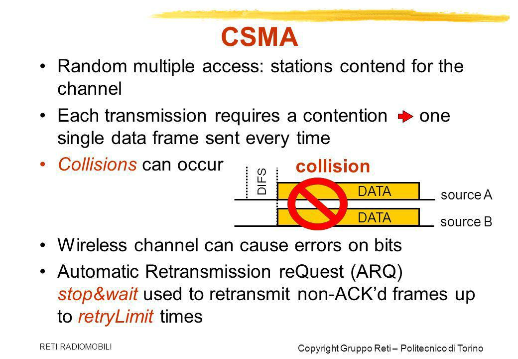 CSMA Random multiple access: stations contend for the channel
