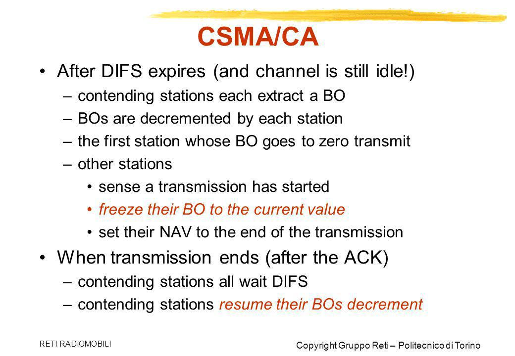 CSMA/CA After DIFS expires (and channel is still idle!)
