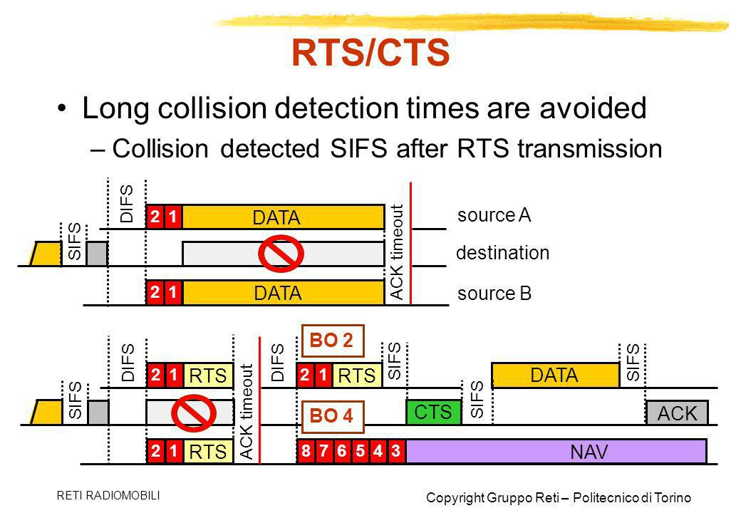 RTS/CTS Long collision detection times are avoided