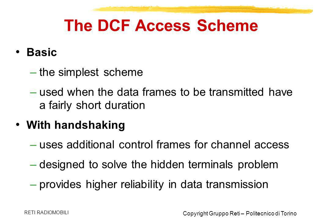 The DCF Access Scheme Basic the simplest scheme