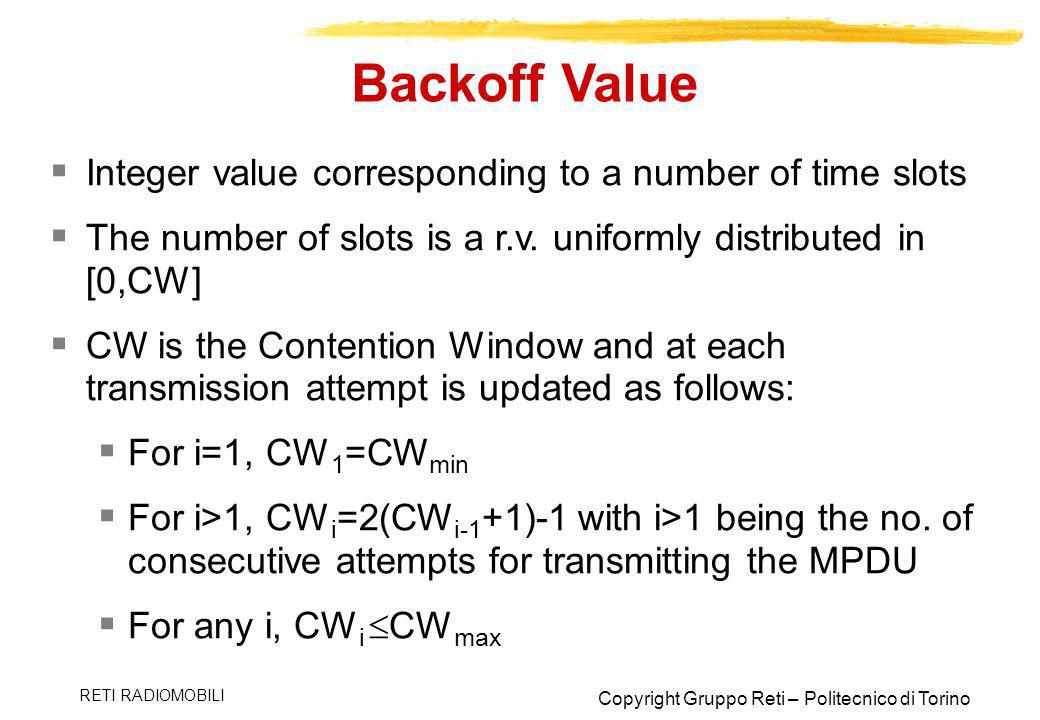 Backoff Value Integer value corresponding to a number of time slots