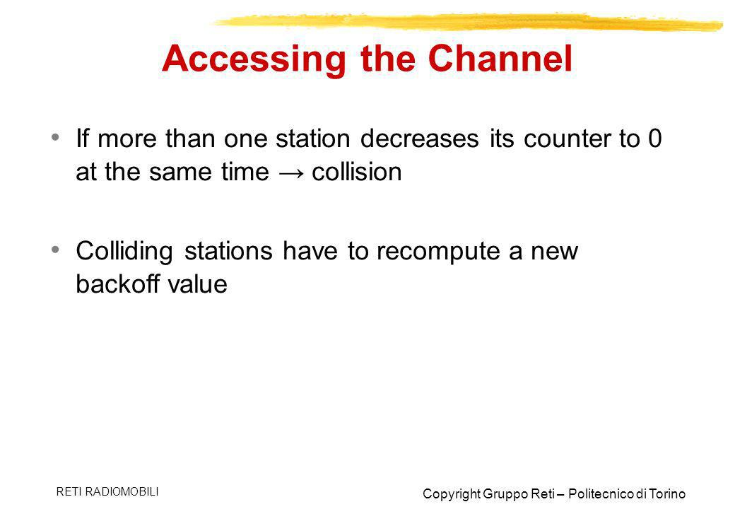Accessing the Channel If more than one station decreases its counter to 0 at the same time → collision.