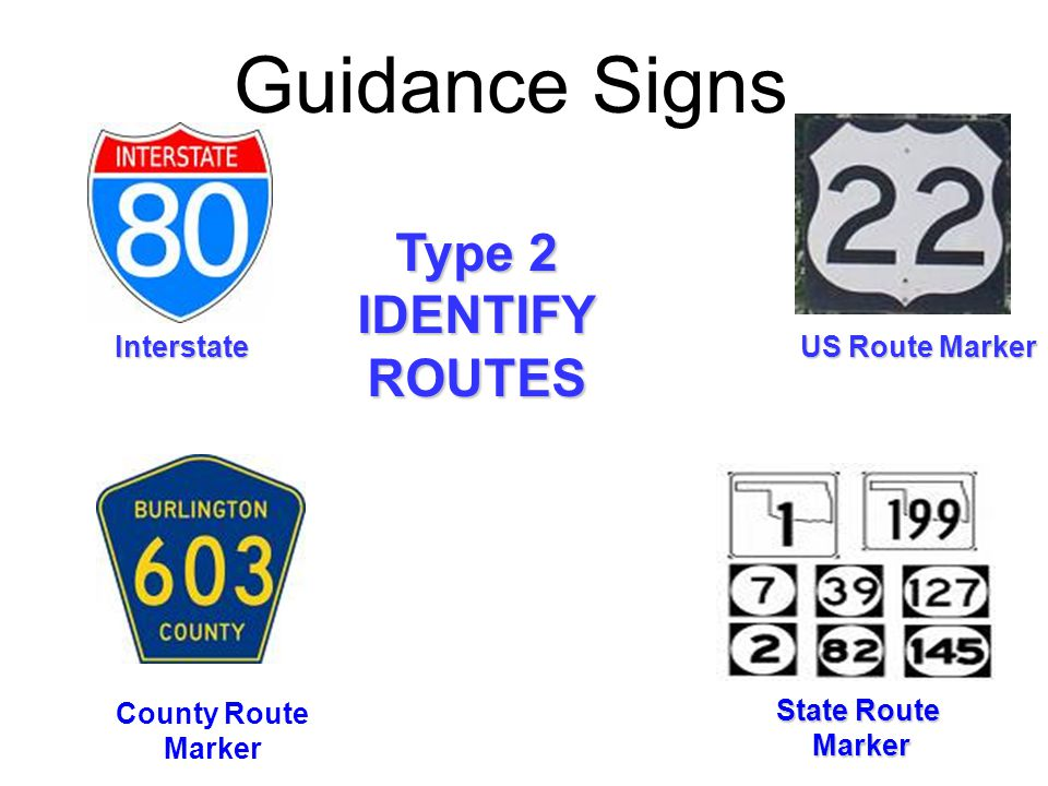 Guidance Signs Type 2 IDENTIFY ROUTES Interstate US Route Marker