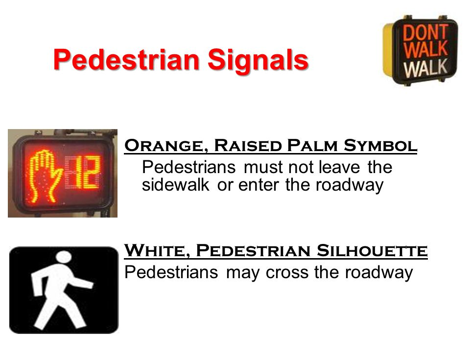 Pedestrian Signals Orange, Raised Palm Symbol