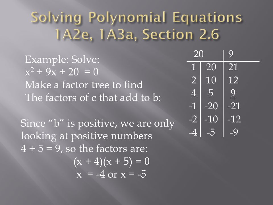 Math I, Sections 2.5 – 2.9 Factoring Polynomials - ppt download