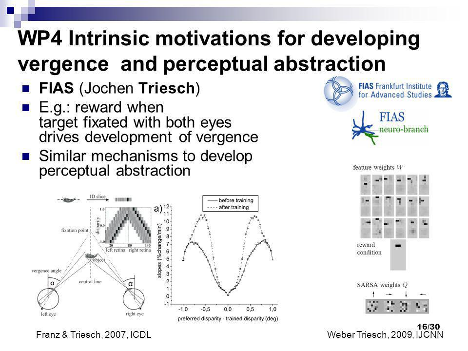 WP4 Intrinsic motivations for developing vergence and perceptual abstraction