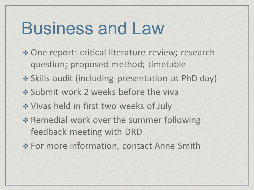detailed timetable phd