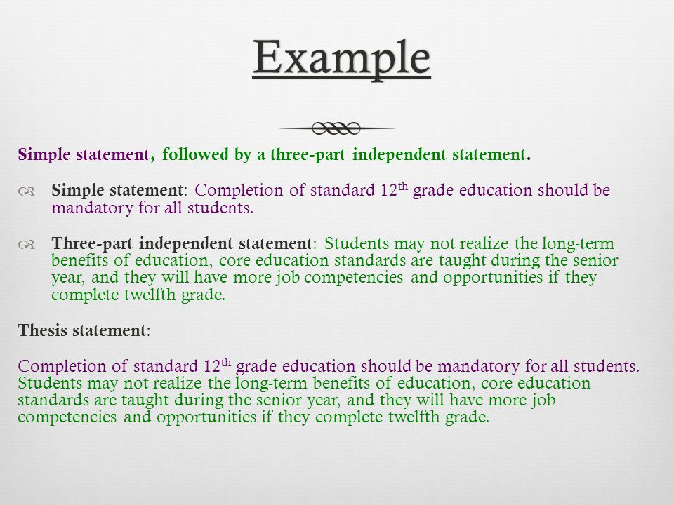 Example of a thesis statement about education