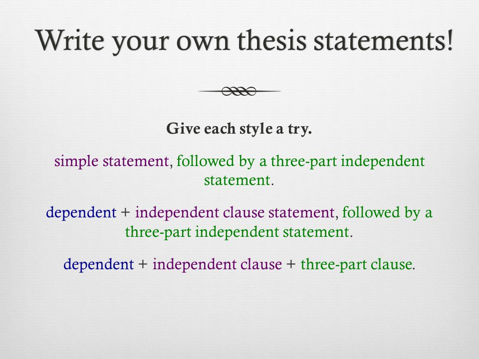 how to write an effective thesis Are they effective a word about the thesis statement remember that no matter what format you follow in writing your critical analysis, it should have a thesis statement that establishes your approach to or opinion about the piece your thesis statement will not be the same as the original.