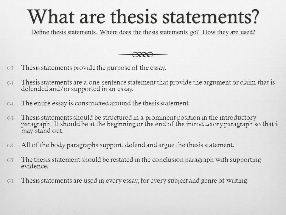 definition of thesis statement in spanish -your thesis should not be too broad for the length of the paper you cannot   sample thesis statements  -present relevant concepts and define key terms.