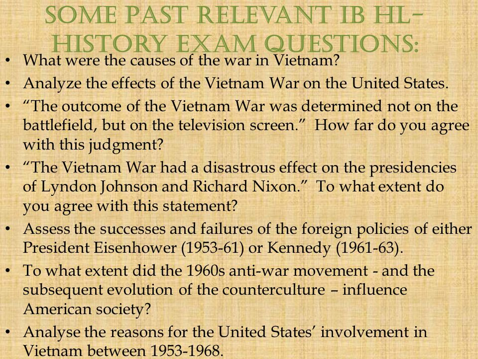 an examination of the history of vietnam A history of the vietnam war exam content outline the following is an outline of the content areas covered in the examination the approximate percentage of the examination devoted to each content area is also noted.