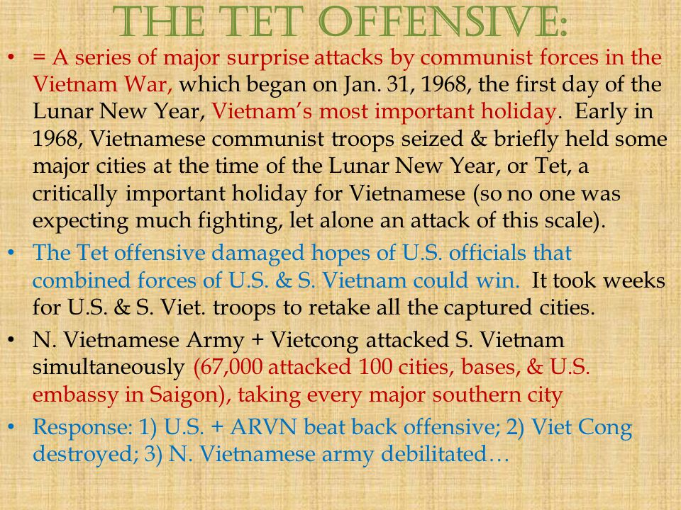 the political and psychological impact of the tet offensive on the vietnamese in 1968 In 1968, the vietnam war was a dominant concern for americans, and yet foreign policy played a secondary role in richard nixon's victory twelve years later, in 1980, ronald reagan won an election that initiated a new era of conservatism.