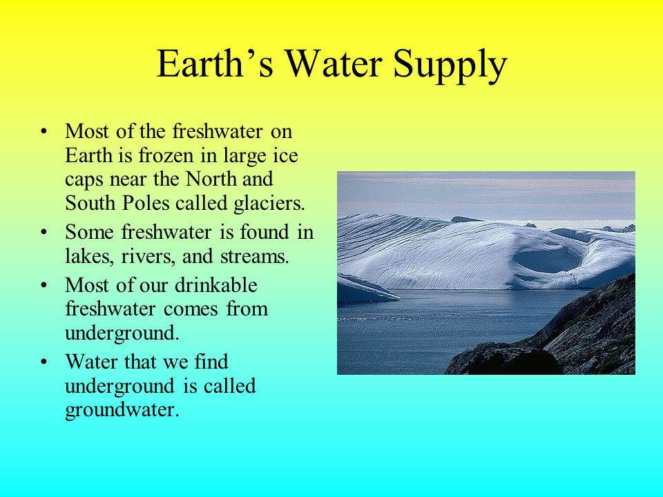 Earth's Water Supply Most of the freshwater on Earth is frozen in large ice caps near the North and South Poles called glaciers.