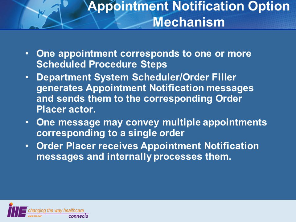 Appointment Notification Option Mechanism