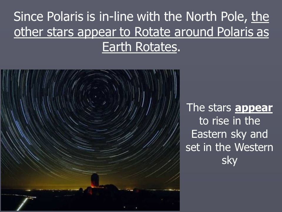The stars appear to rise in the Eastern sky and set in the Western sky