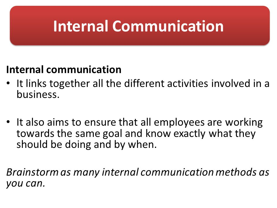 the aims of internal business communication in a business Our latest article asks what is internal communication and why is it important in business, before examining internal comms examples, tools and strategies.