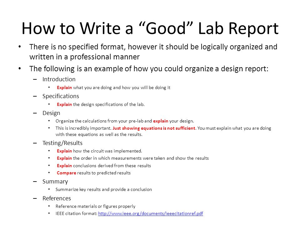 How to write a good summary report