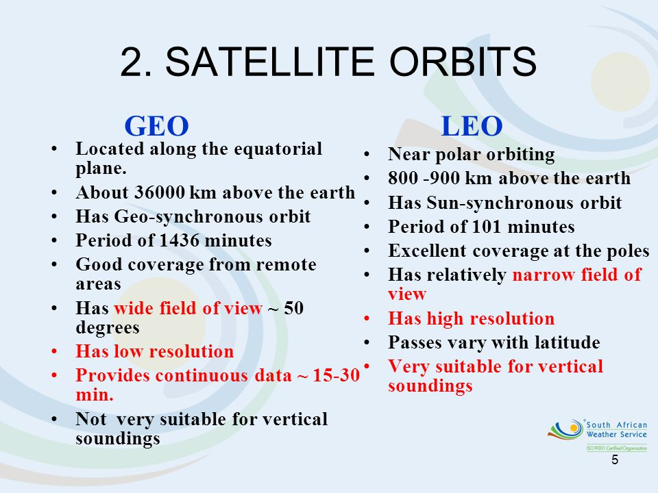 2. SATELLITE ORBITS GEO LEO Located along the equatorial plane.