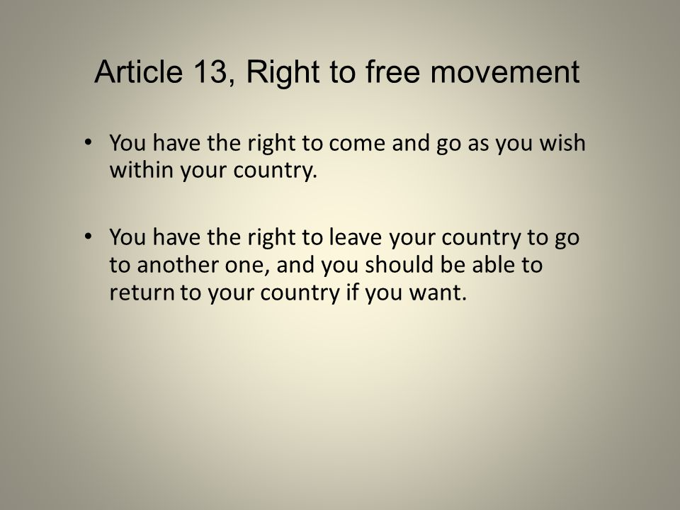 Article 13, Right to free movement