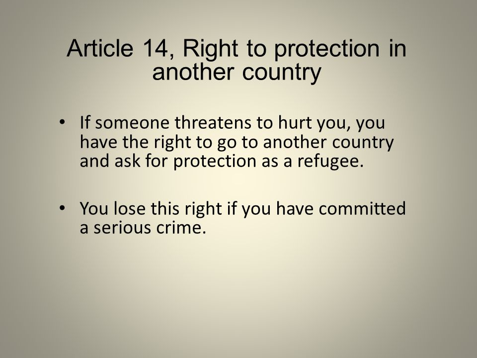 Article 14, Right to protection in another country