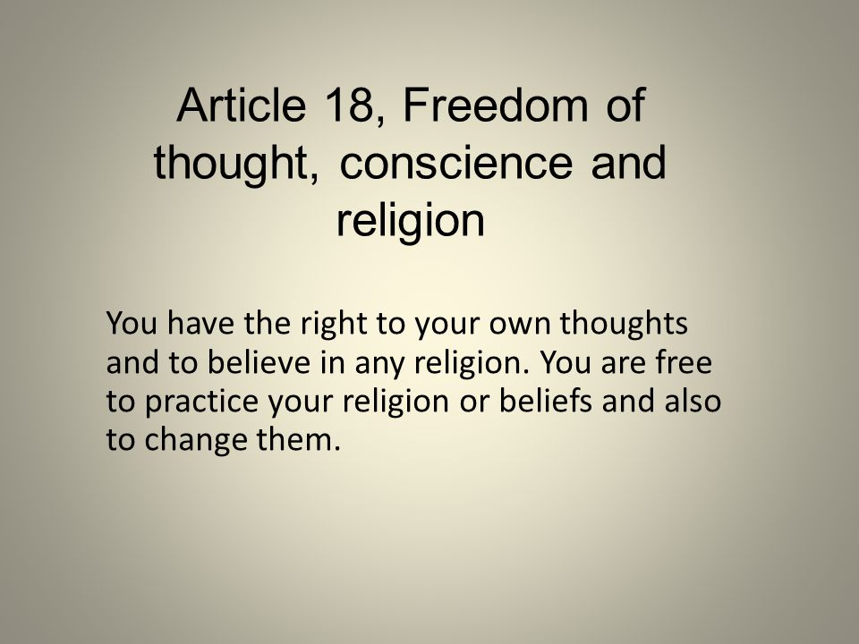 Article 18, Freedom of thought, conscience and religion