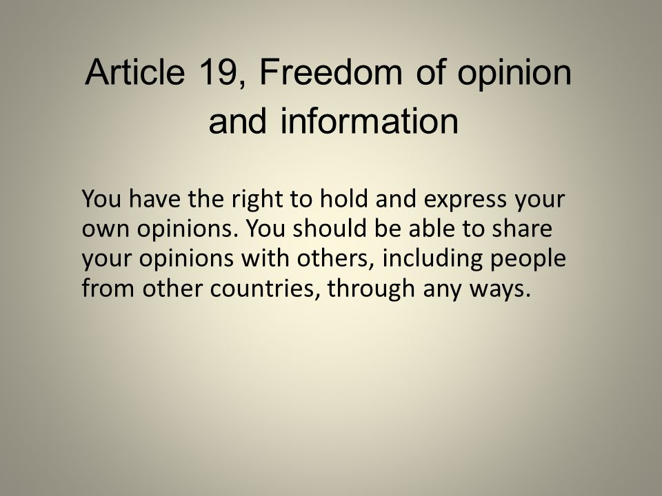 Article 19, Freedom of opinion