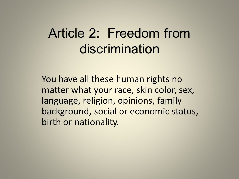 Article 2: Freedom from discrimination