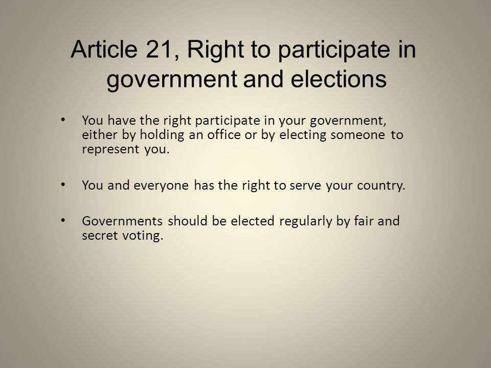 Article 21, Right to participate in government and elections