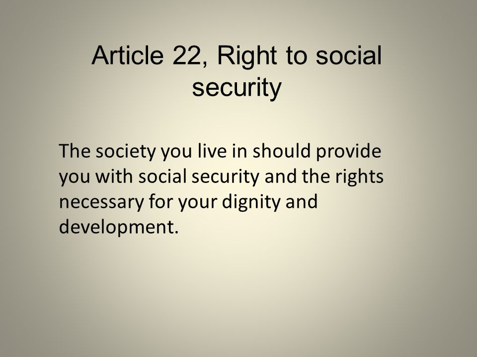 Article 22, Right to social security