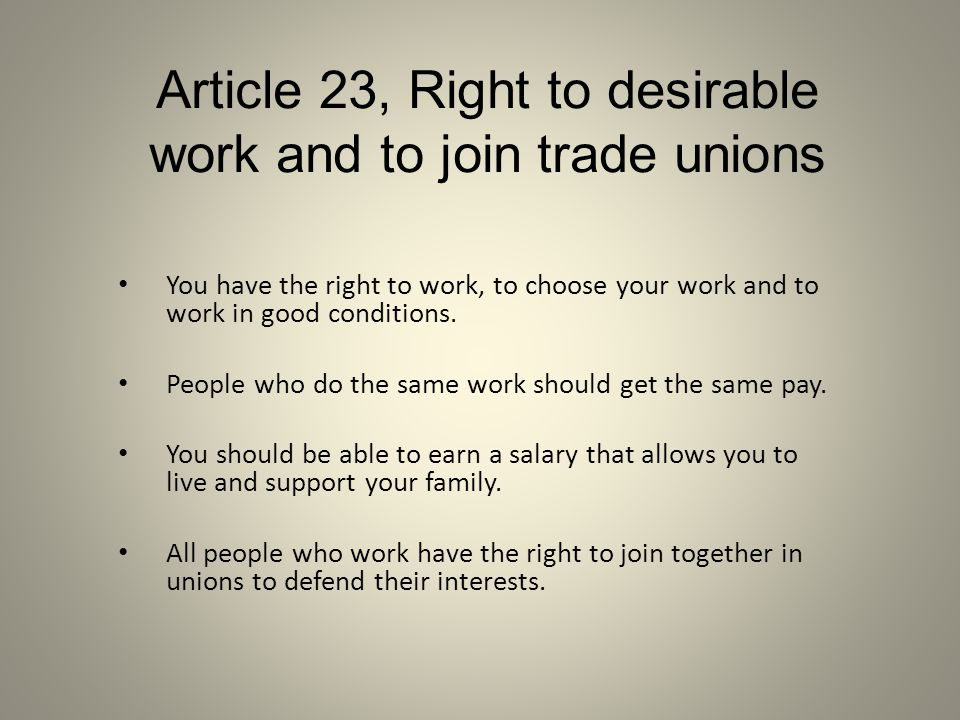 Article 23, Right to desirable work and to join trade unions