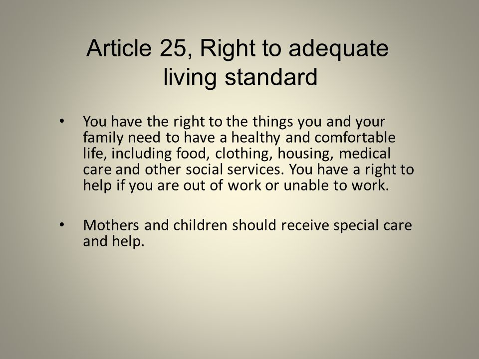 Article 25, Right to adequate