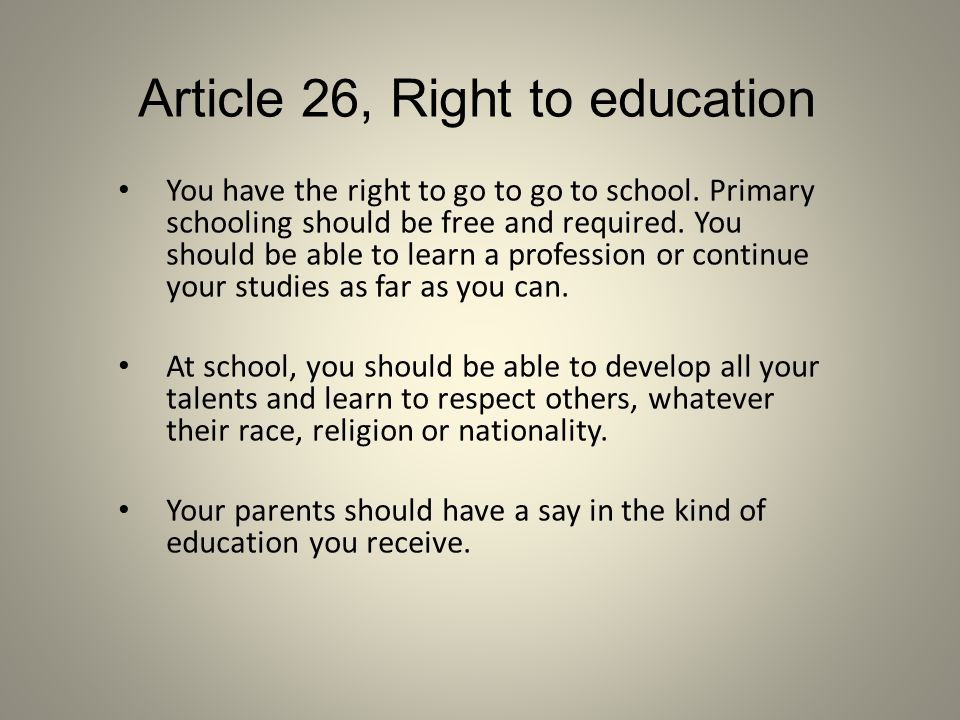 Article 26, Right to education