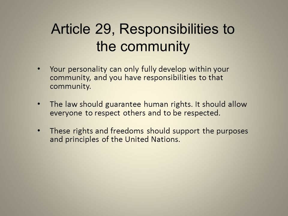 Article 29, Responsibilities to