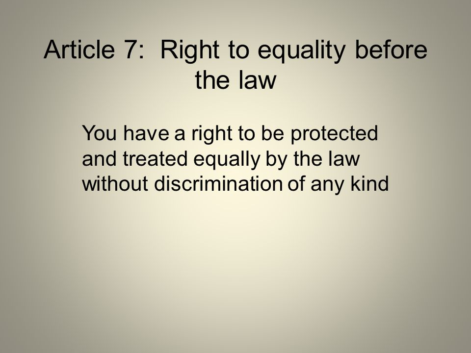 Article 7: Right to equality before the law