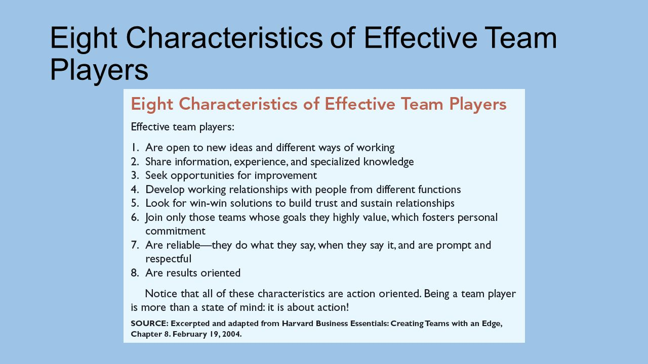 qualities of an effective team player Effective team players work this way by second nature good team players, despite differences they may have with other team members concerning style and perspective, figure out ways to work together to solve problems and get work done.
