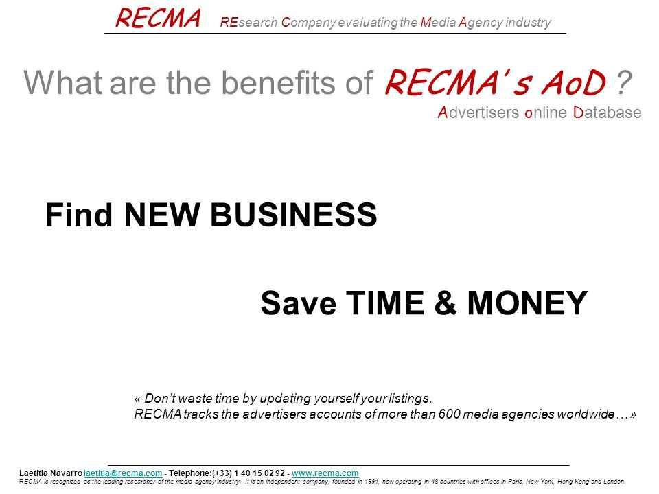 RECMA Research Company evaluating the Media Agency Industry
